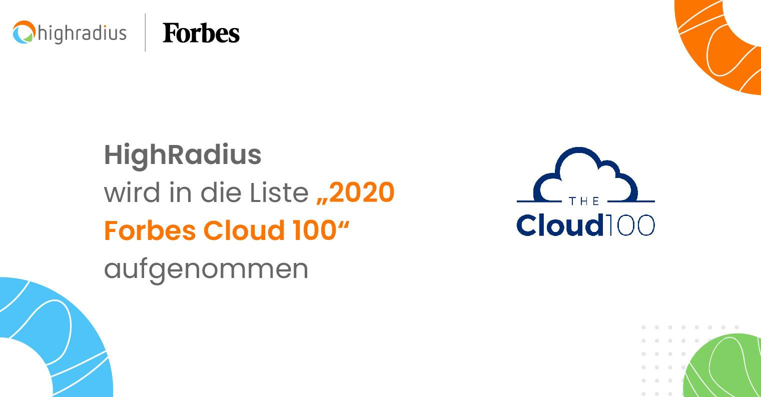 """HighRadius wird in die Liste """"2020  Forbes Cloud 100""""  aufgenommen"""